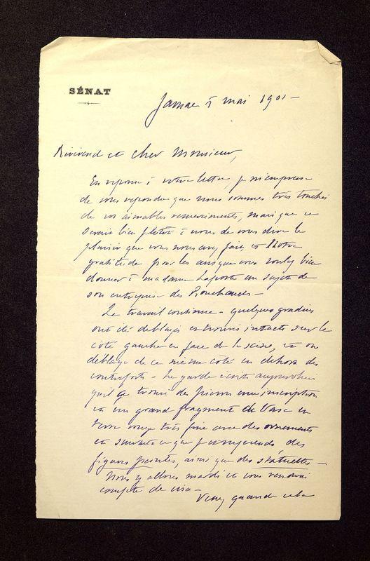 Visuel du media #9 - Lettre de Laporte-Bisquit à De La Croix du 05 mai 1901, page 1