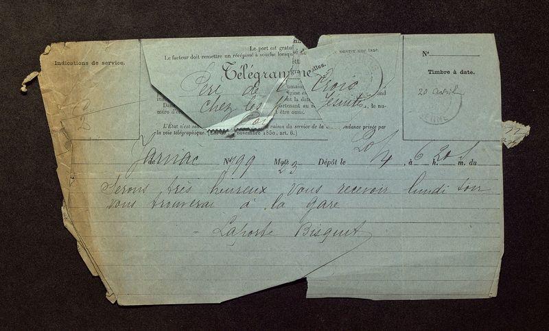Visuel du media #6 - Télégramme de Laporte-Bisquit à De La Croix du 20 avril 1901