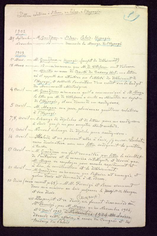 Visuel du media #7 - Lettres relatives à Saint-Jean, au Palais, à l'Hypogée, page 1