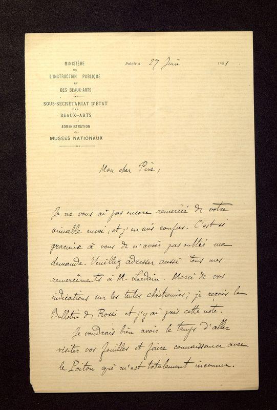 Visuel du media #3 - Lettre de Héron de Villefosse à De La Croix du 27 juin 1881, page 1