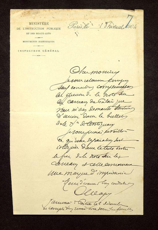 Visuel du media #7 - Lettre de Magne à De La Croix du 18 XX 1904