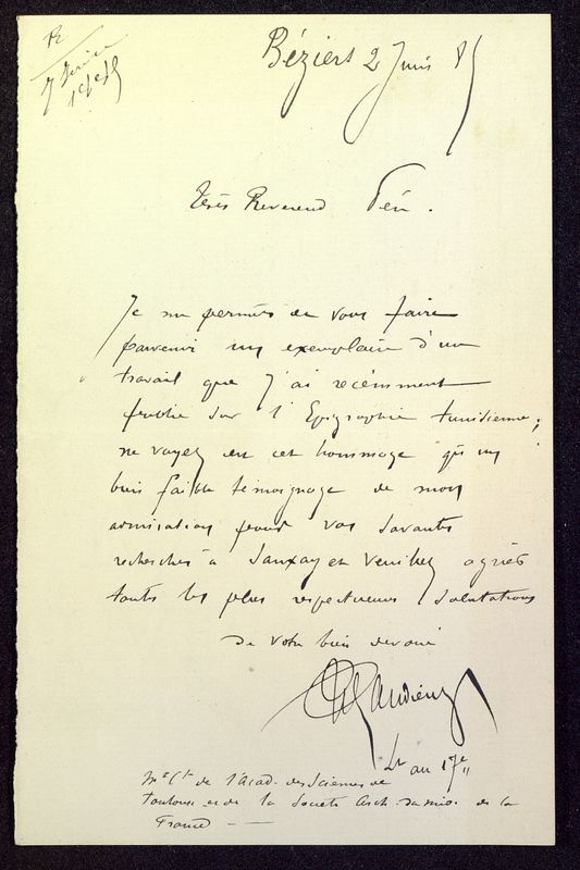 Visuel du media #2 - Lettre de Espérandieu à De La Croix du 02 juin 1885