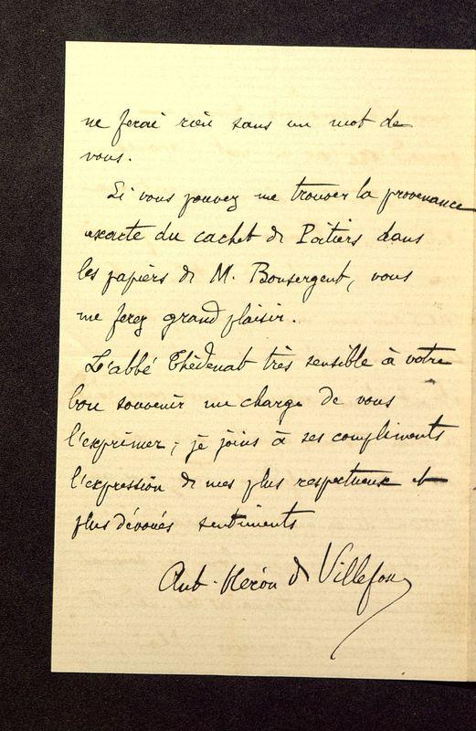 Visuel du media #10 - Lettre de Héron de Villefosse à De La Croix du 08 juin 1882, page 4