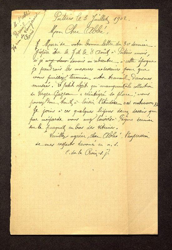Visuel du media #6 - Lettre de De La Croix à Breuil du 03 juillet 1902