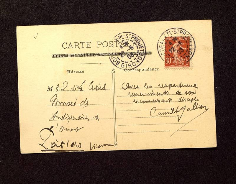 Visuel du media #1 - Carte postale de Jullian à De La Croix du 22 juin 1903
