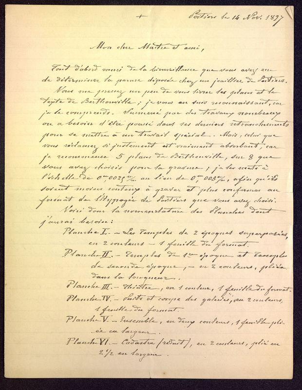 Visuel du media #9 - Lettre de De La Croix à Babelon du 14 novembre 1897, page 1