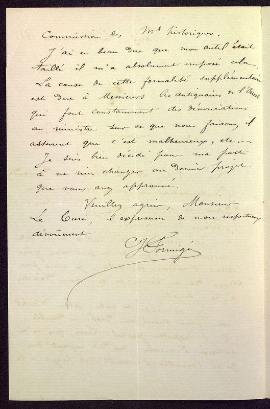 Visuel du media #4 - Lettre de Formigé à De La Croix du 21 décembre 1883, page 2