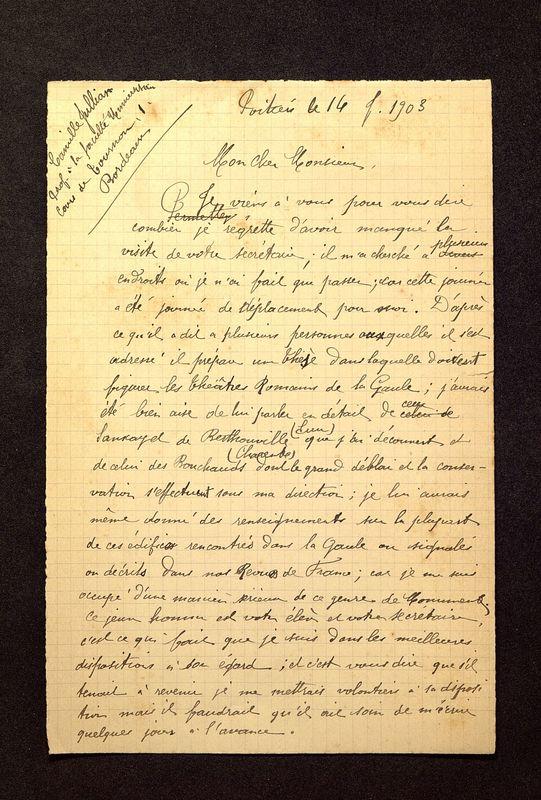 Visuel du media #7 - Lettre de De La Croix à Jullian du 14 février 1903, page 1