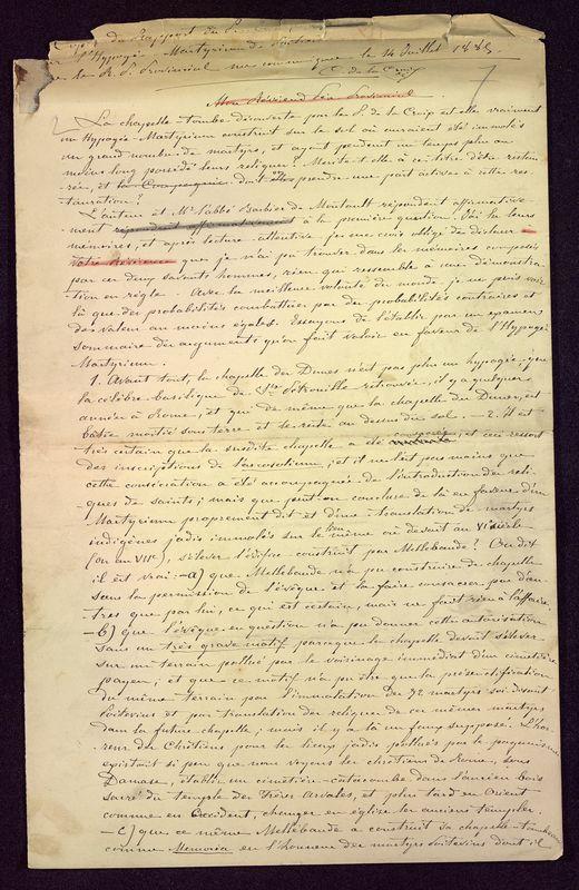 Visuel du media #4 - Copie du rapport sur l'Hypogée-Martyrium, page 1