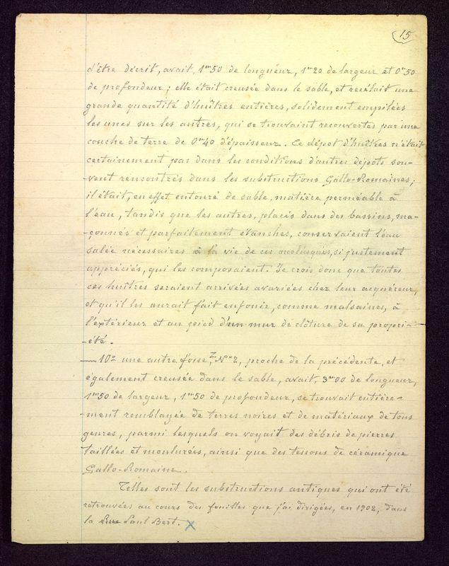 """Visuel du media #12 - Brouillon du manuscrit """"Les fouilles de la rue Paul Bert à Poitiers"""", page 3"""