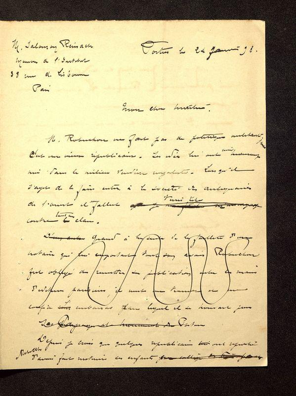 Visuel du media #6 - Lettre de De La Croix à Reinach du 24 janvier 1898, page 1