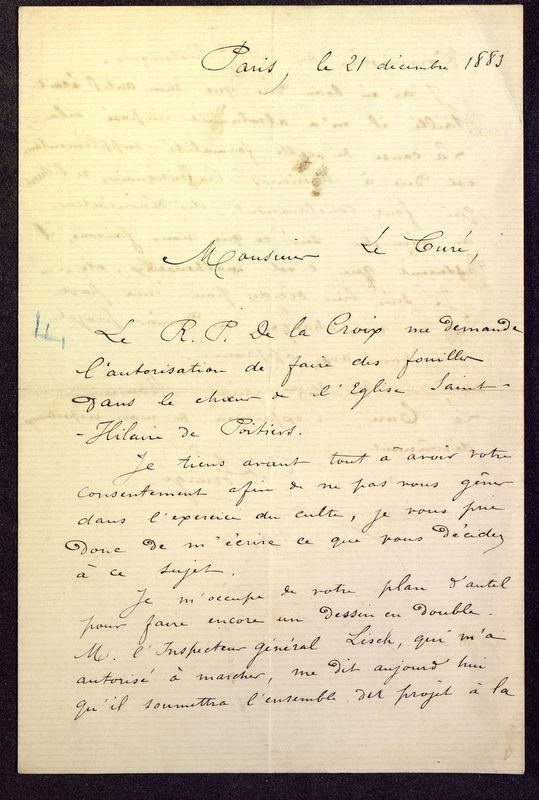 Visuel du media #3 - Lettre de Formigé à De La Croix du 21 décembre 1883, page 1
