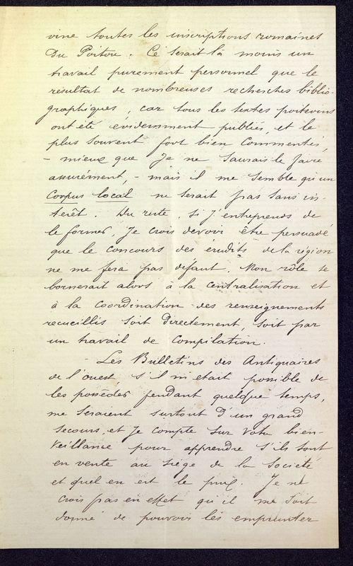 Visuel du media #9 - Lettre de Espérandieu à De La Croix de 1886, page 2