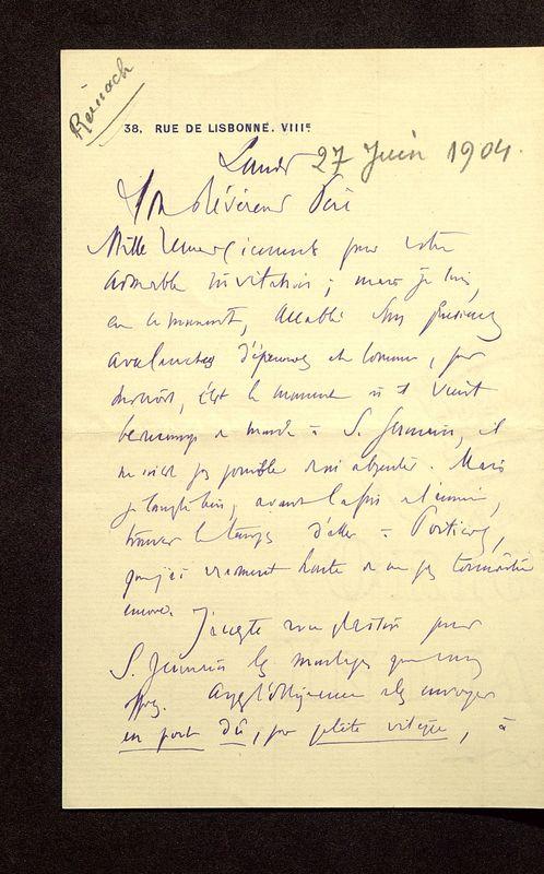 Visuel du media #12 - Lettre de Reinach à De La Croix du 27 juin 1904, page 1