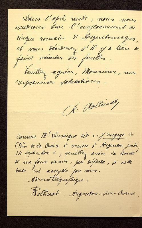 Visuel du media #9 - Lettre de Rollinat à De La Croix du 11 septembre 1905, page 2