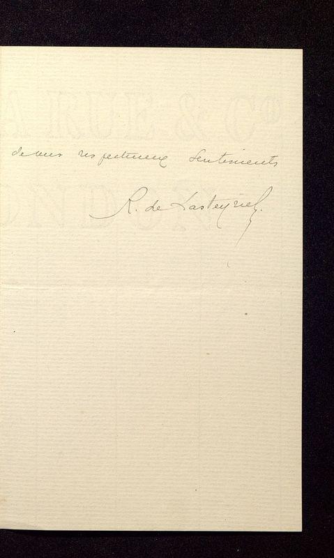 Visuel du media #8 - Lettre de Lasteyrie Du Saillant à De La Croix du 08 avril 1882, page 3