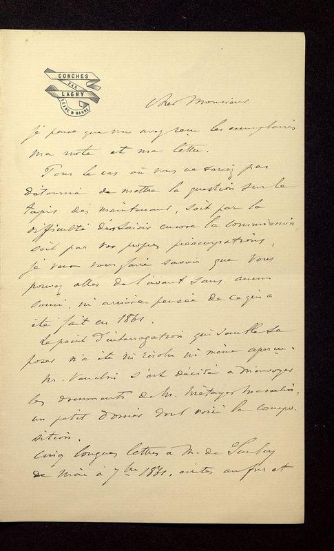 Visuel du media #8 - Lettre de Join-Lambert à De La Croix du 26 juillet 1896, page 1