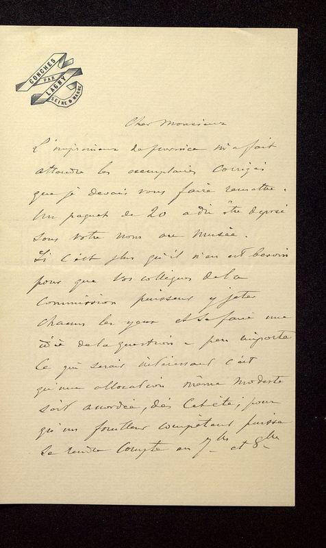 Visuel du media #5 - Lettre de Join-Lambert à De La Croix du 23 juillet 1896, page 1