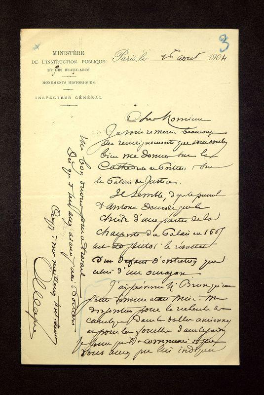 Visuel du media #10 - Lettre de Magne à De La Croix du 16 août 1904