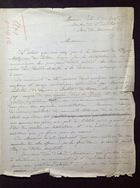Visuel du document Correspondance avec Jules-Étienne Quicherat (1879-1882)
