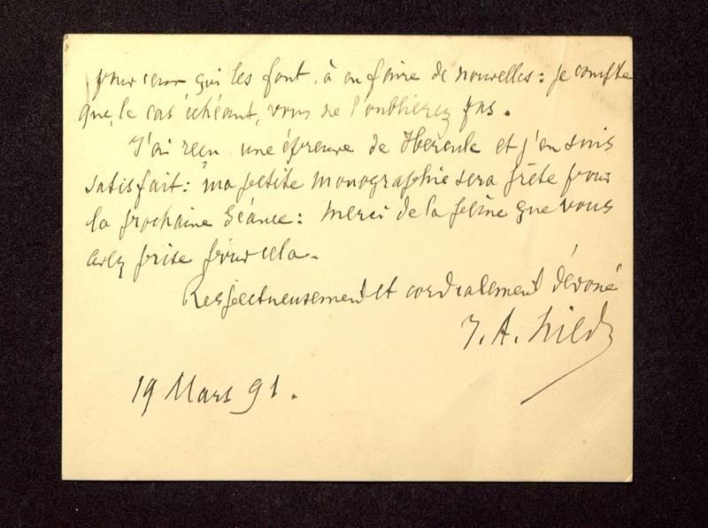 Visuel du media #4 - Lettre de Hild à De La Croix du 19 mars 1891, page 2