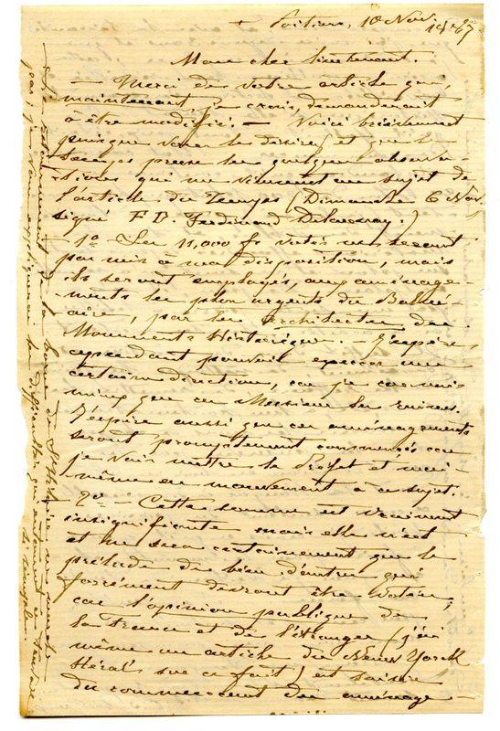 Visuel du media #1 - Lettre de De La Croix à Espérandieu du 10 novembre 1887, page 1