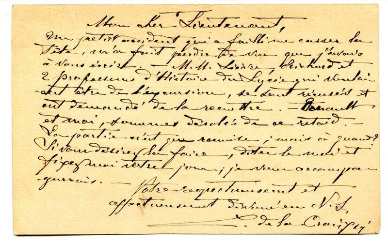 Visuel du media #9 - Lettre de De La Croix à Espérandieu du 12 mai 1888