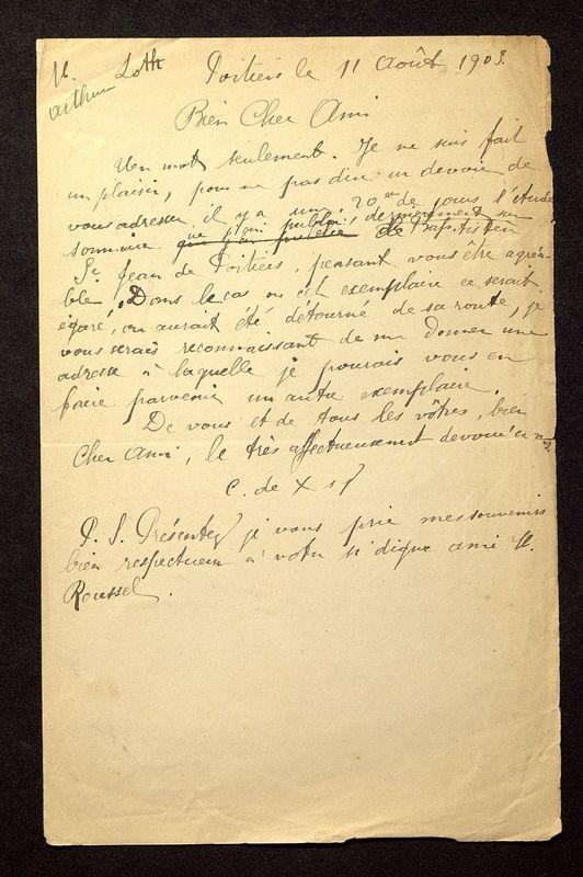 Visuel du media #11 - Lettre de De La Croix à Loth du 11 août 1903