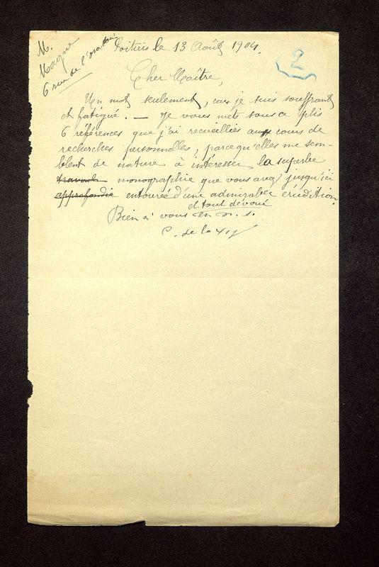Visuel du media #9 - Lettre de De La Croix à Magne du 13 août 1904