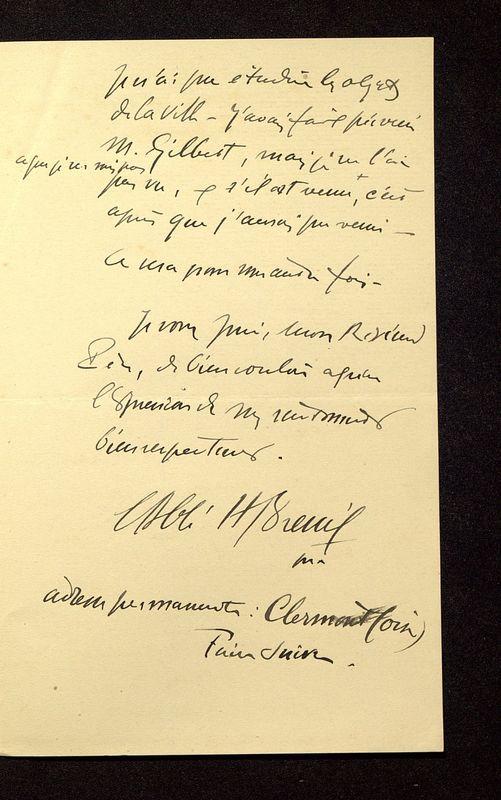 Visuel du media #10 - Lettre de Breuil à De La Croix du 10 août 1902, page 3