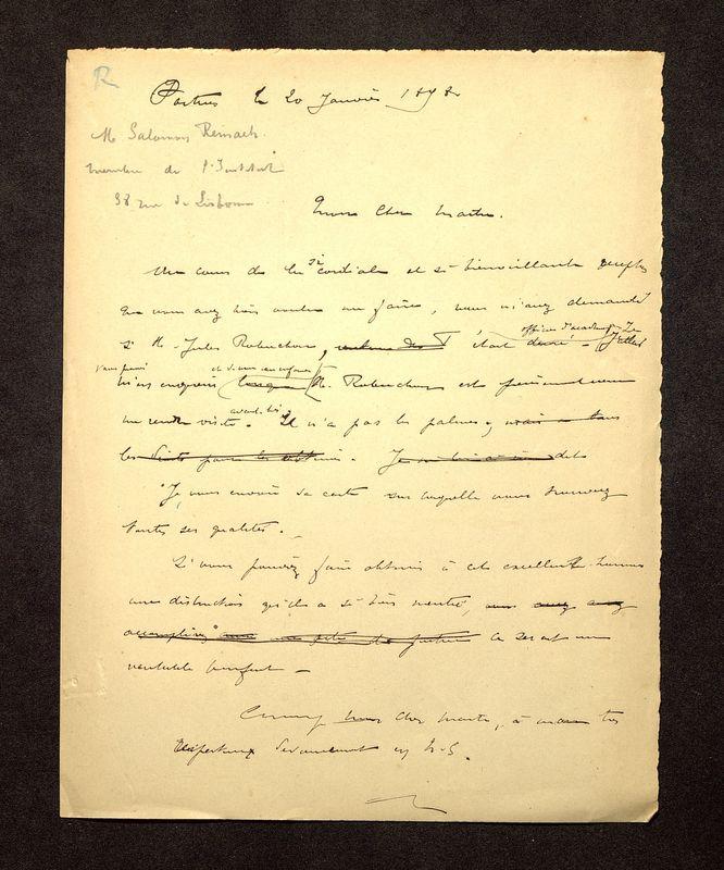 Visuel du media #4 - Lettre de De La Croix à Reinach du 20 janvier 1898