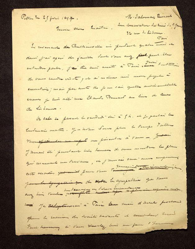 Visuel du media #1 - Lettre de De La Croix à Reinach du 25 février 1897, page 1