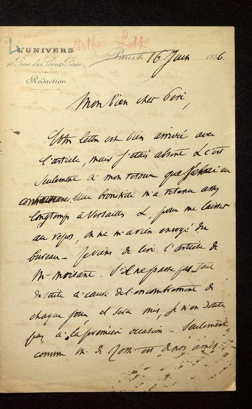 Visuel du media #8 - Lettre de Loth à De La Croix du 16 juin 1886, page 1