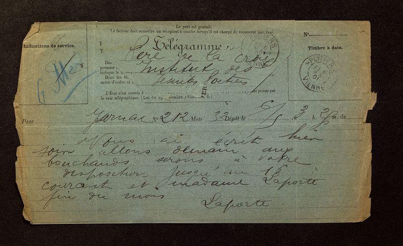 Visuel du media #11 - Télégramme de Laporte-Bisquit à De La Croix du 16 mai 1901