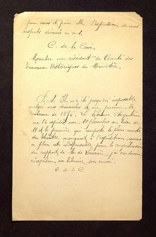 Visuel du media #8 - Lettre de De La Croix à Laporte-Bisquit du 03 mai 1901, page 2
