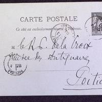 Carte postale de Berthelé à De La Croix du 14 mars 1884, page 1