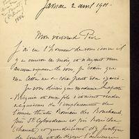 Lettre de Laporte-Bisquit à De La Croix du 02 avril 1901, page 1
