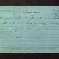 Télégramme de Lisch à De La Croix du 30 mars 1882