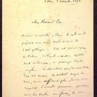 Lettre de Courajod à De La Croix du 08 novembre 1890, page 1