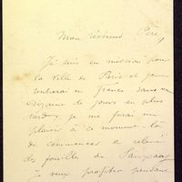 Lettre de Formigé à De La Croix du 03 avril 1883, page 1
