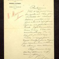 Lettre de Magne à De La Croix du 21 mai 1891